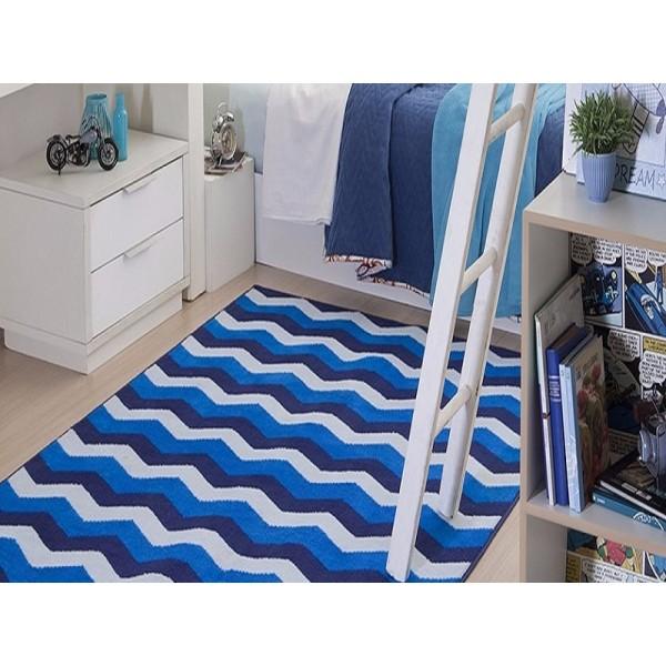 Tapete Infantil Azul Corttex Chevron 1,50 x 2,00